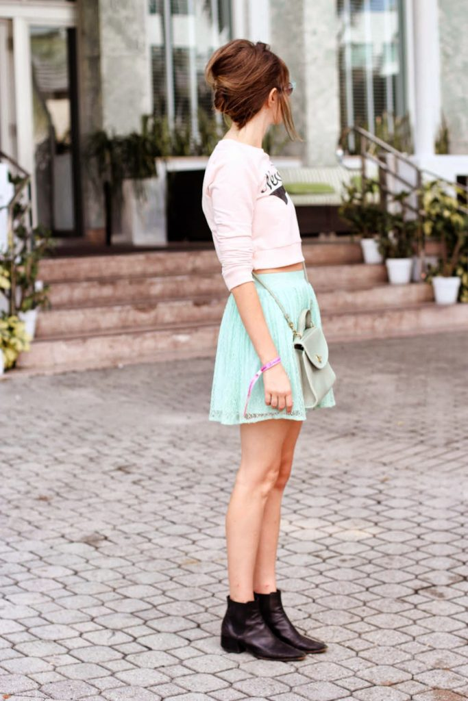forever 21 new york shirt, mint green skirt, steffy kuncman, miami fashion blog