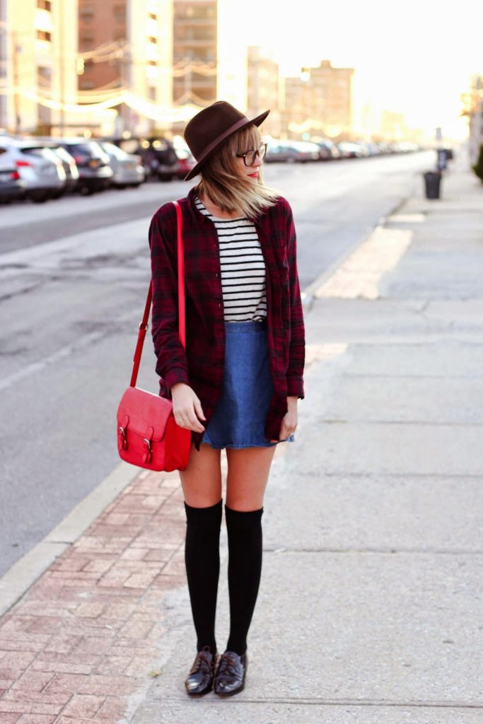 flannel shirt, fall outfit inspiration, knee high socks, long beach ny, nyc vintage blogger