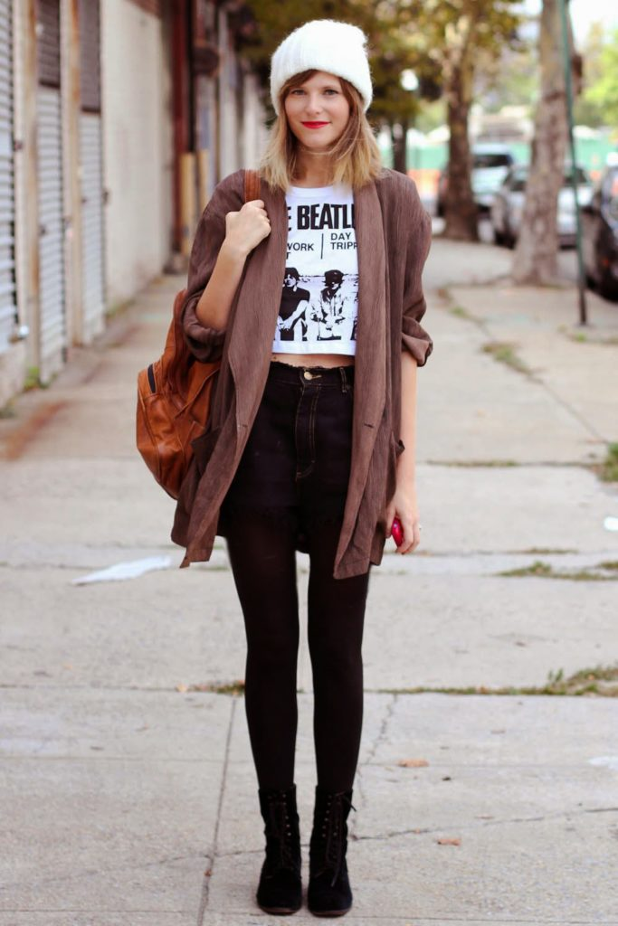 forever 21 beatles tee, high waist distressed shorts, nyc vintage fashion blog, vintage fashion blog, beanie, fall outfit inspiration, greenpoint fashion