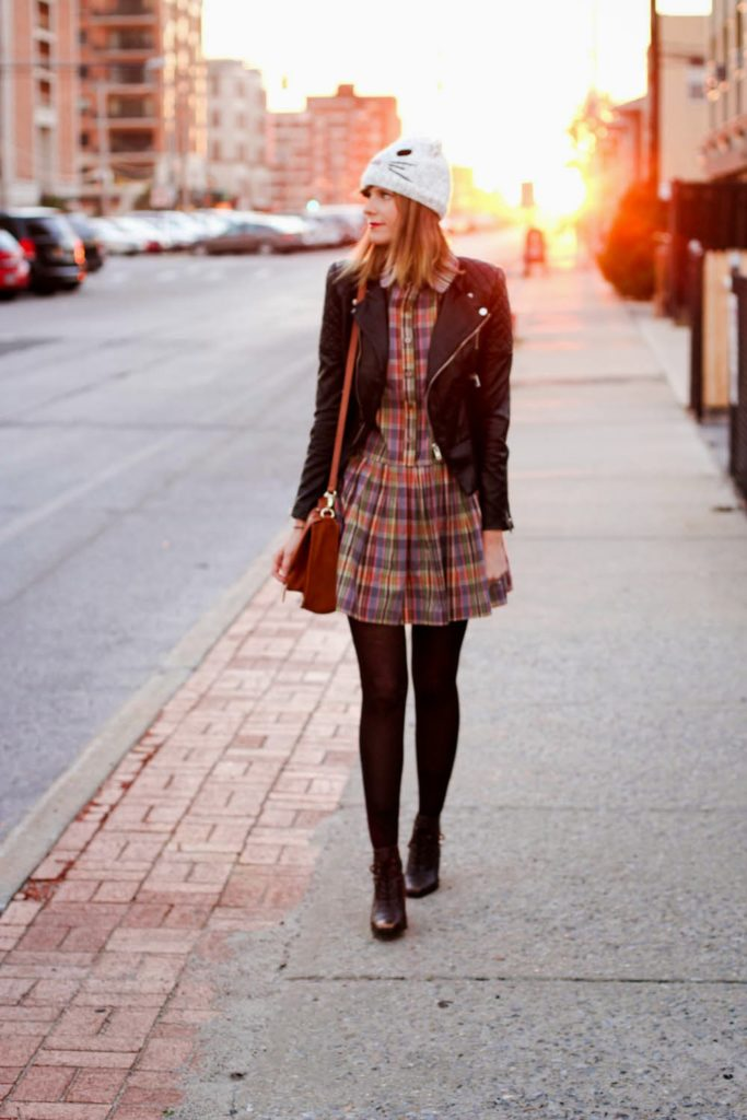 forever 21 cat beanie, faux leather jacket, pepa loves plaid dress, nyc vintage blogger, vintage fashion blog