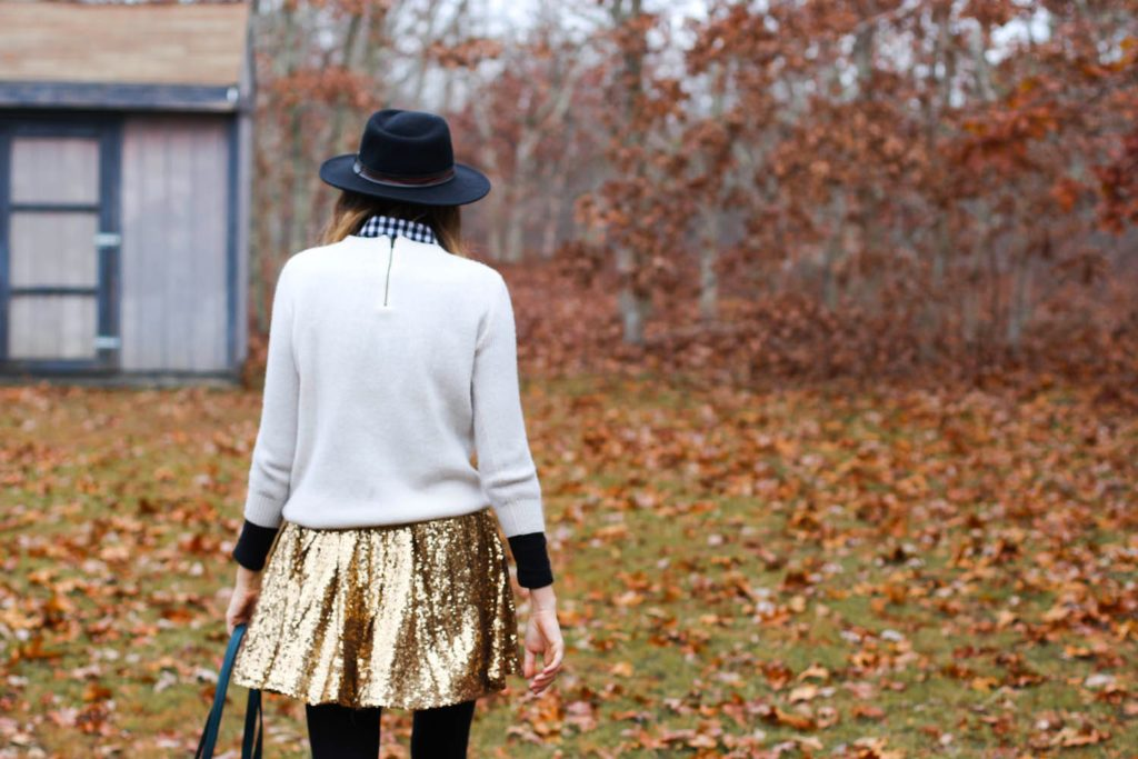 kate spade saturday monogram, zipline tote kate spade, lulu's sequin skirt, skier sweater J.crew, fall outfit photo, nyc blog, nyc vintage blog