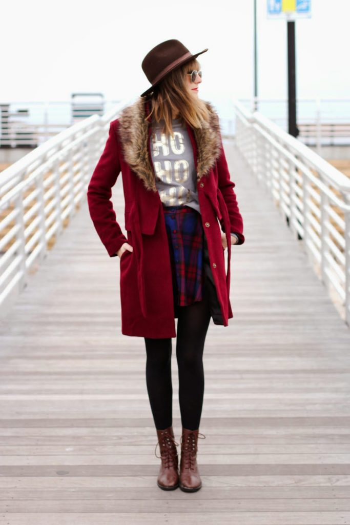 aeropostale sweater, holiday outfit, forever 21 faux fur jacket, vintage fashion blog, nyc fashion blog