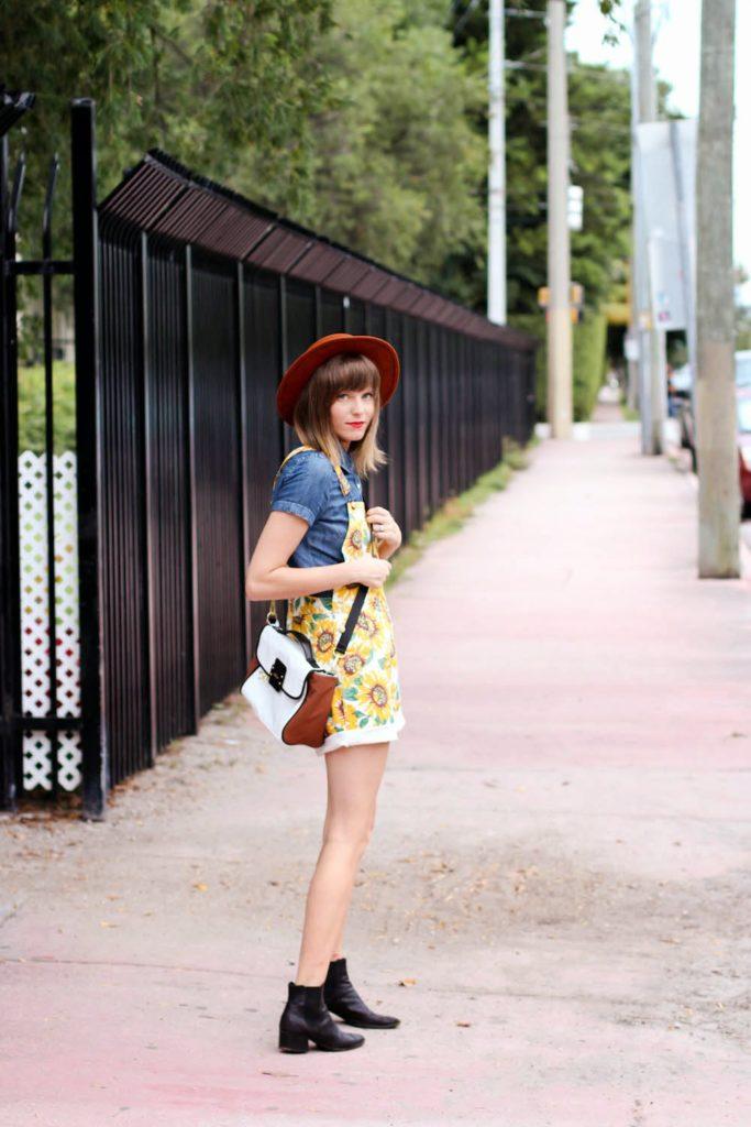 j.crew blouse, sunflower overalls, vintage black boots
