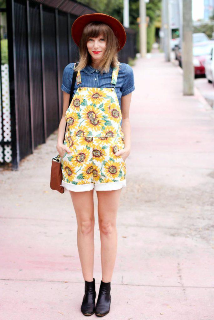 sunflower overalls, j.crew blouse