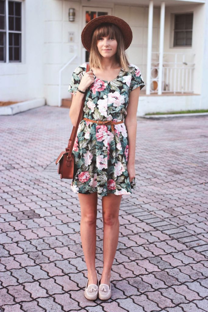 vintage floral dress, nyc vintage blog, summer straw hat, ASOS bag