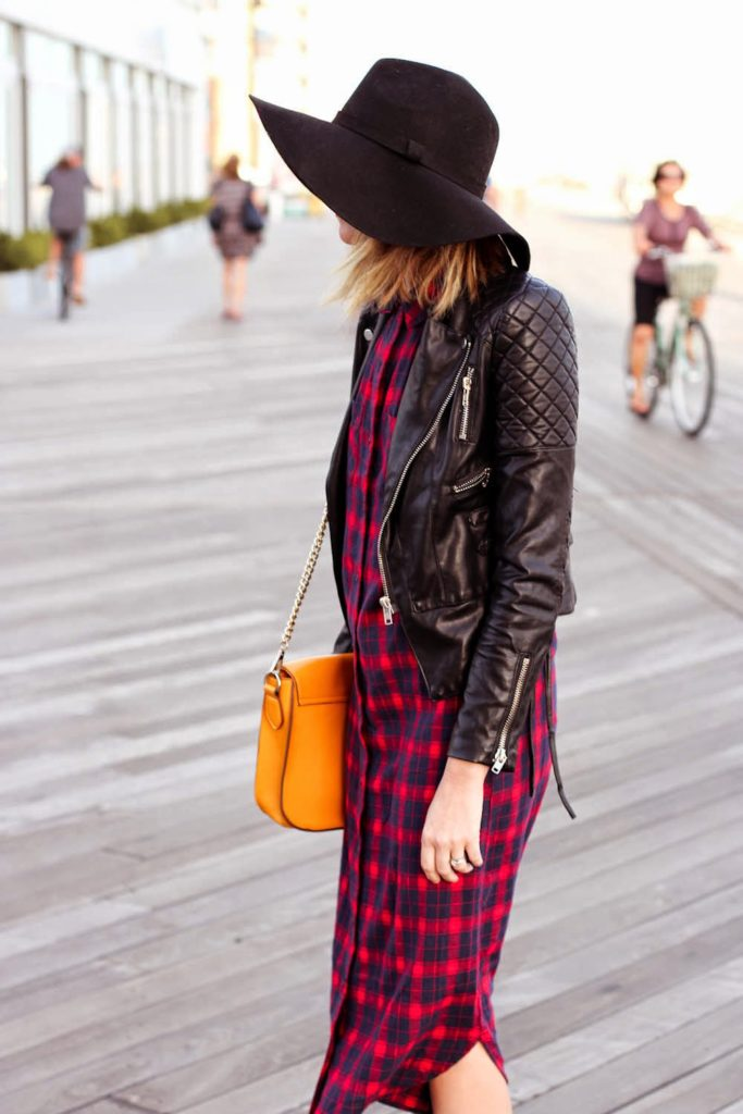 forever 21 plaid maxi dress, leather jacket, nyc vintage fashion blogger, long beach boardwalk