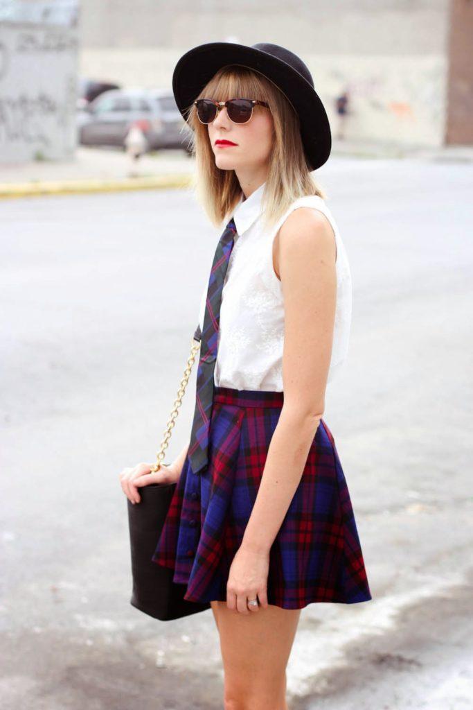 forever 21 plaid skirt, skinny tie, nyc vintage blogger, morgan avenue, dagne dover