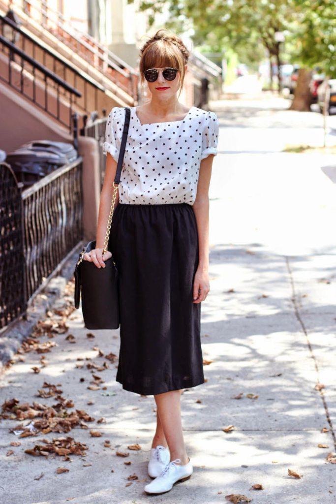 nyc vintage blog, polka dot vintage dress, zero uv sunglasses, dagne dover, clinton hill style