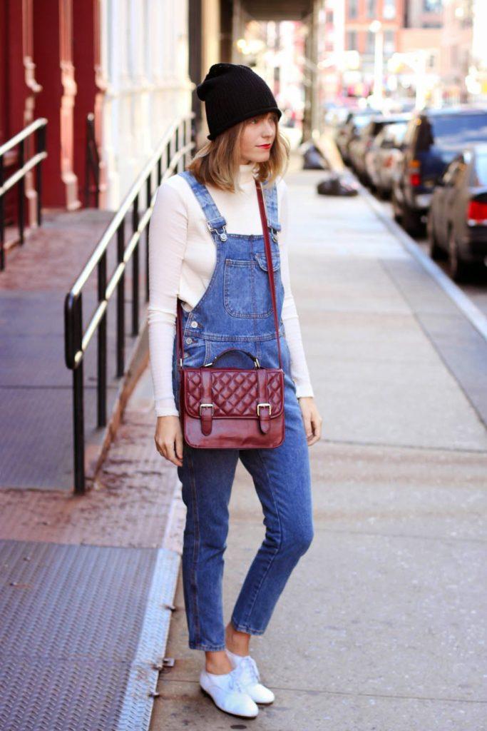soho street style, nyc vintage fashion blogger, F21 beanie, F21 crossbody, steffy degreff