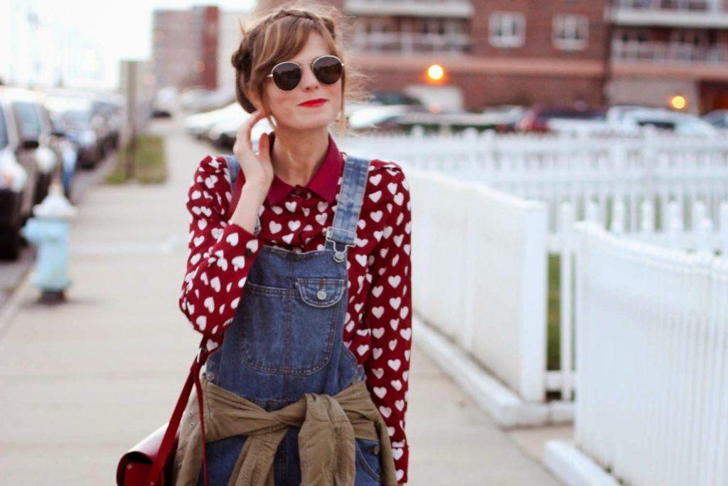 denim overalls, heart blouse, Cat footwear boots, long beach ny, nyc fashion blog, nyc vintage blog, vintage fashion blog