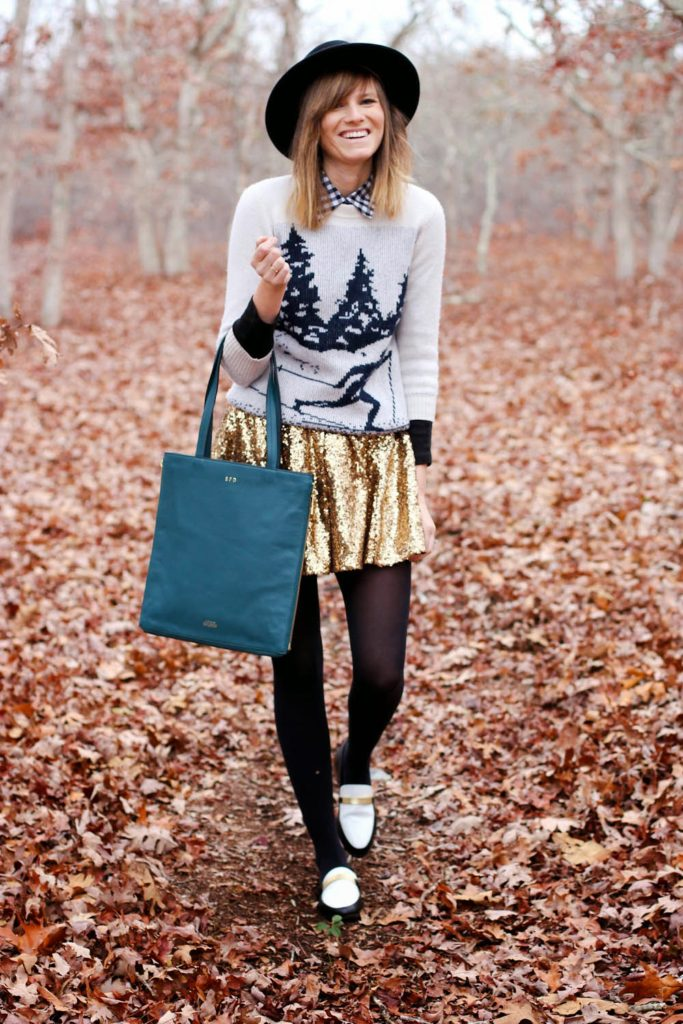 kate spade saturday monogram, zipline tote kate spade, lulu's sequin skirt, skier sweater J.crew, fall outfit photo, nyc blog, nyc vintage blog