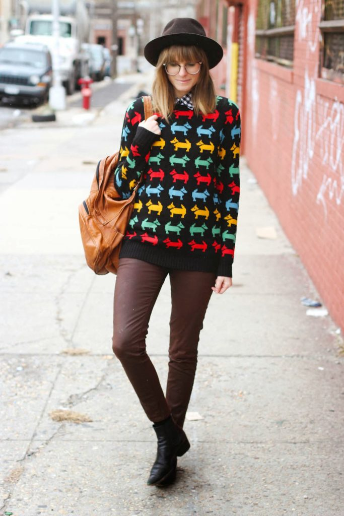 scottish terrier pepaloves sweater, polette glasses, bushwick vintage outfit, vintage fashion blog, nyc fashion blog