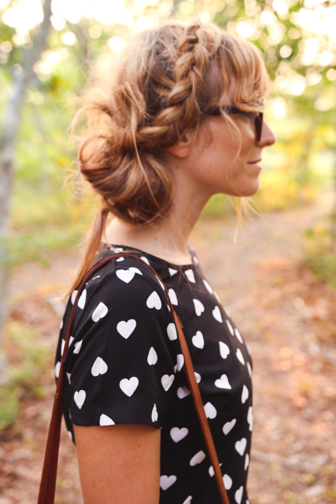 boohoo heart playsuit, braided updo, polette glasses, nyc fashion blogger, fashion blogger nyc