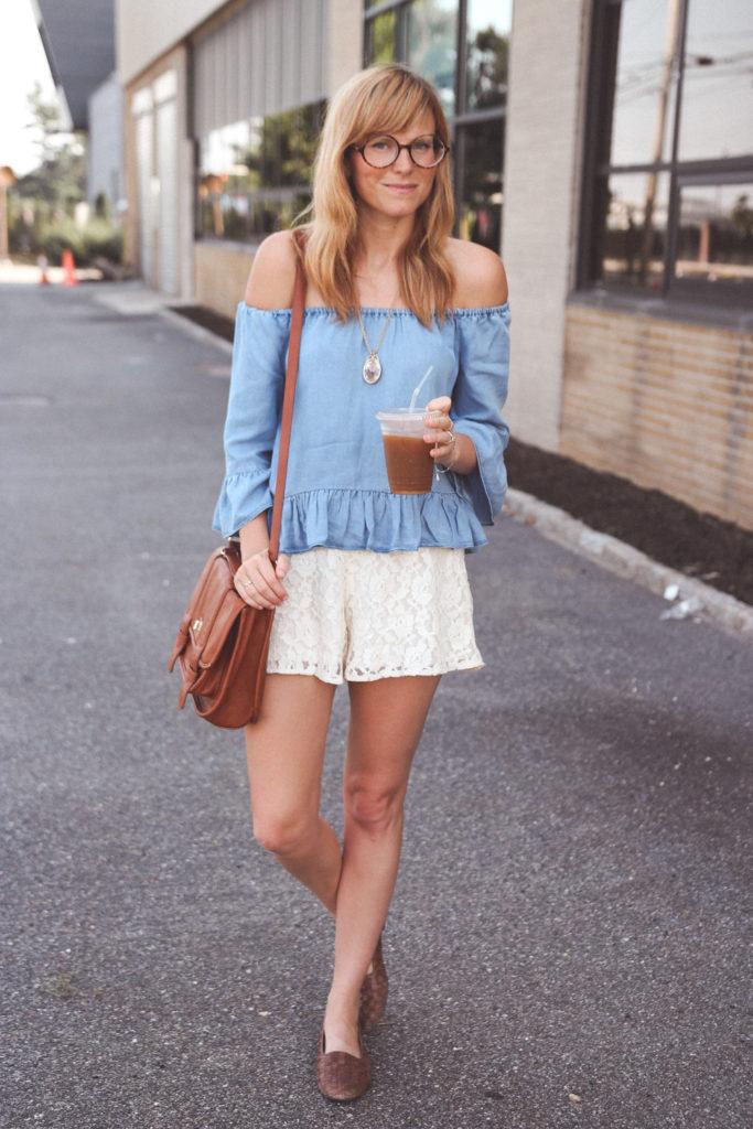 zara off the shoulder blouse, lace shorts, long beach ny fashion, nyc fashion blog, fashion bloggers nyc