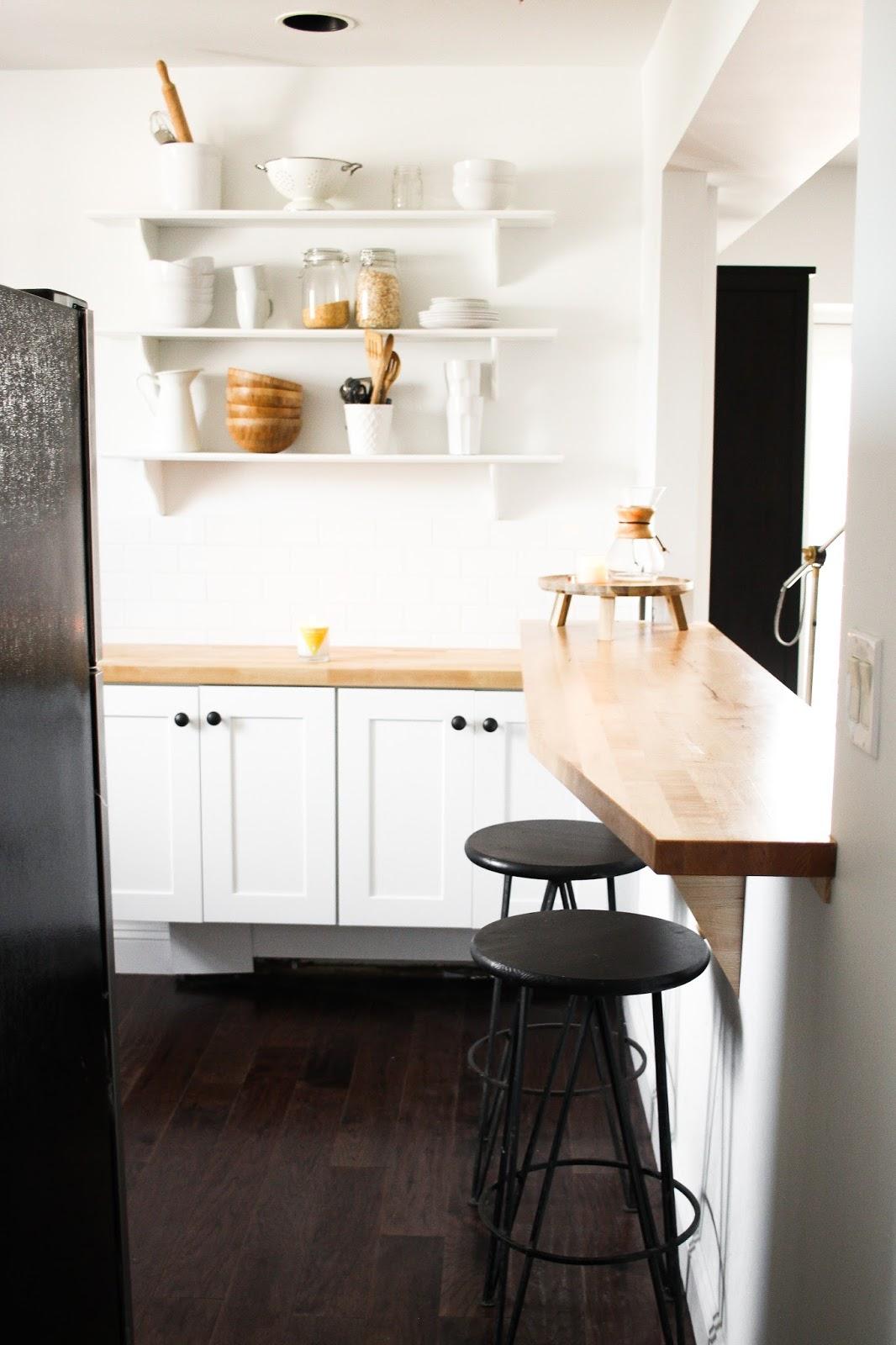 farmhouse kitchen, subway tile kitchen, white and wood kitchen, butcher block counter, west elm kitchen
