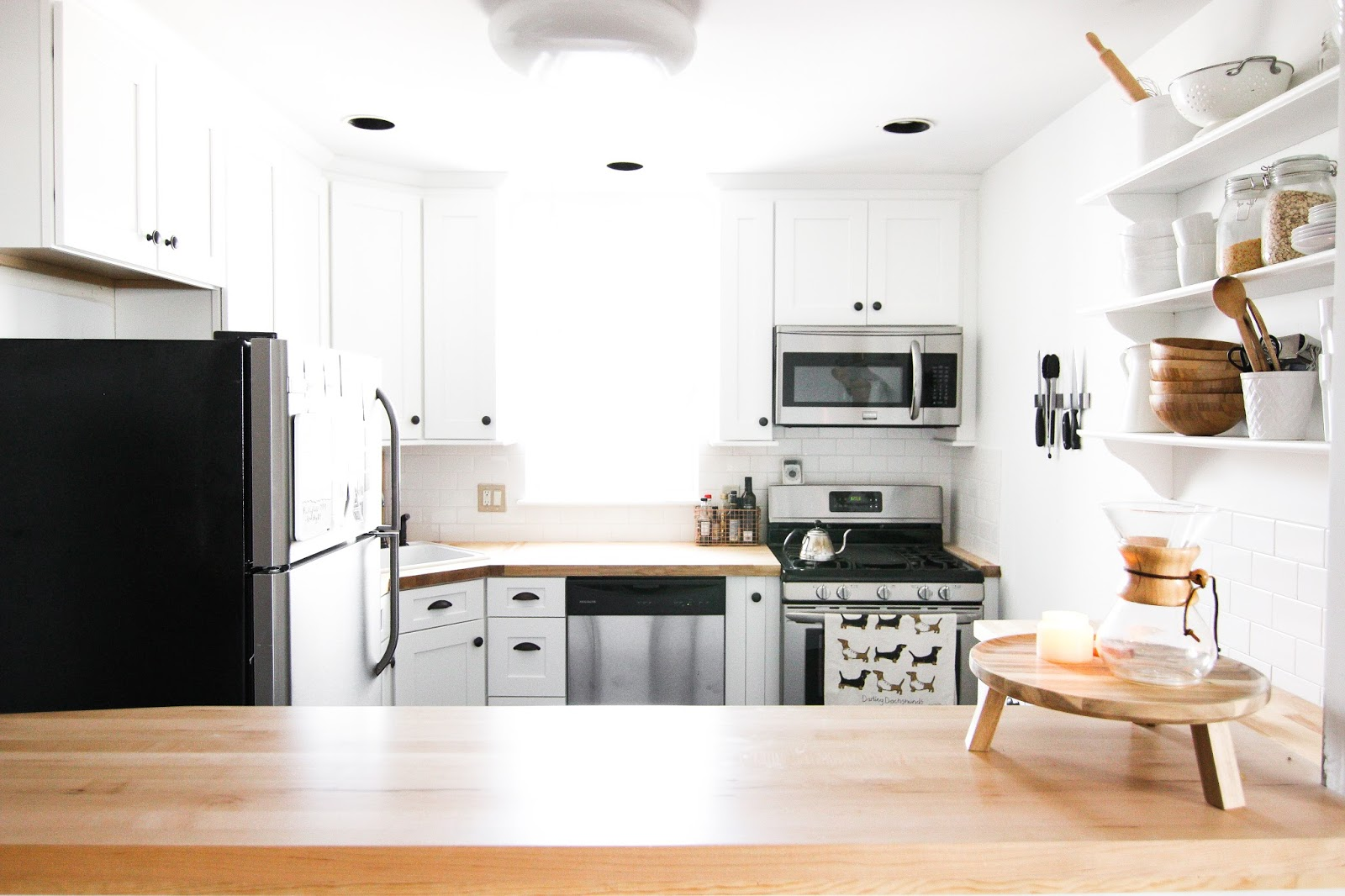 farmhouse kitchen, subway tile kitchen, white and wood kitchen, butcher block counter, west elm kitchen