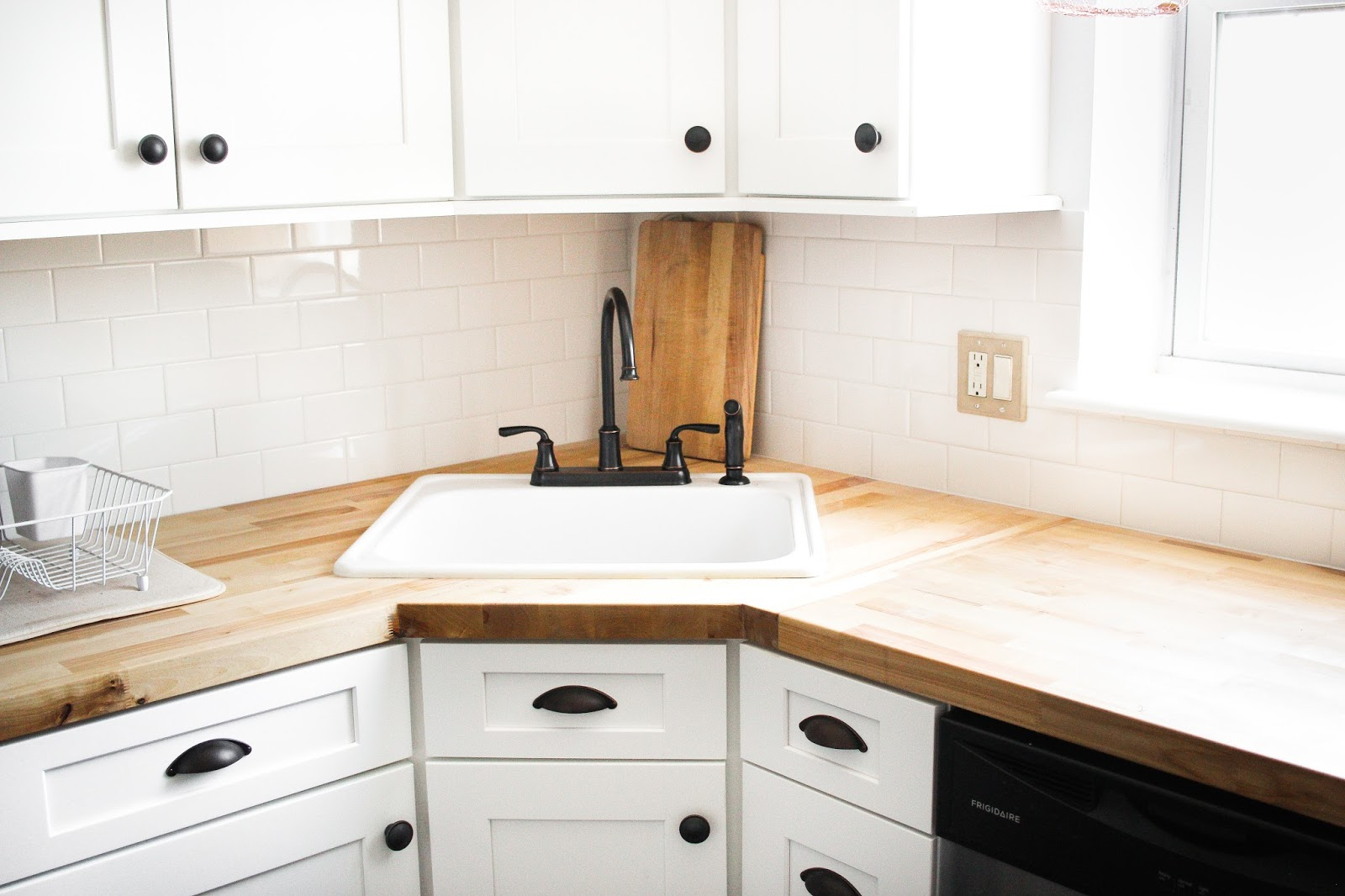 butcher block countertop, farmhouse sink, farmhouse kitchen reno