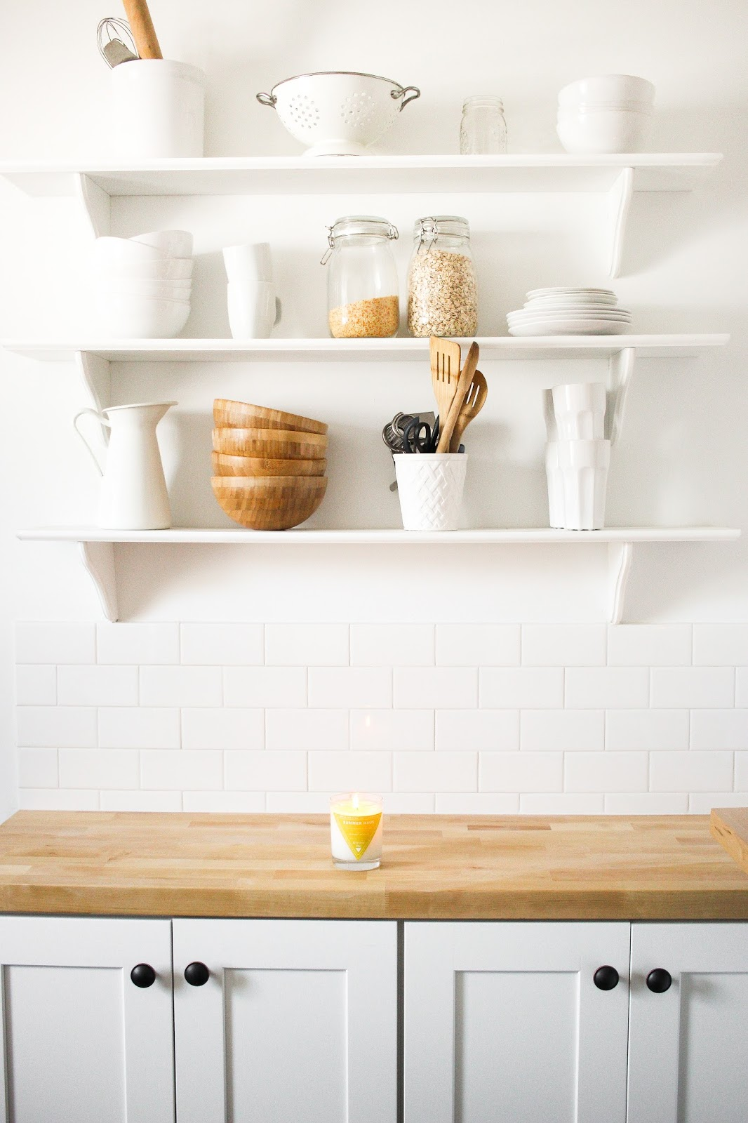 farmhouse kitchen, subway tile kitchen, white and wood kitchen, butcher block counter, west elm kitchen, open shelving with wood, white open shelves