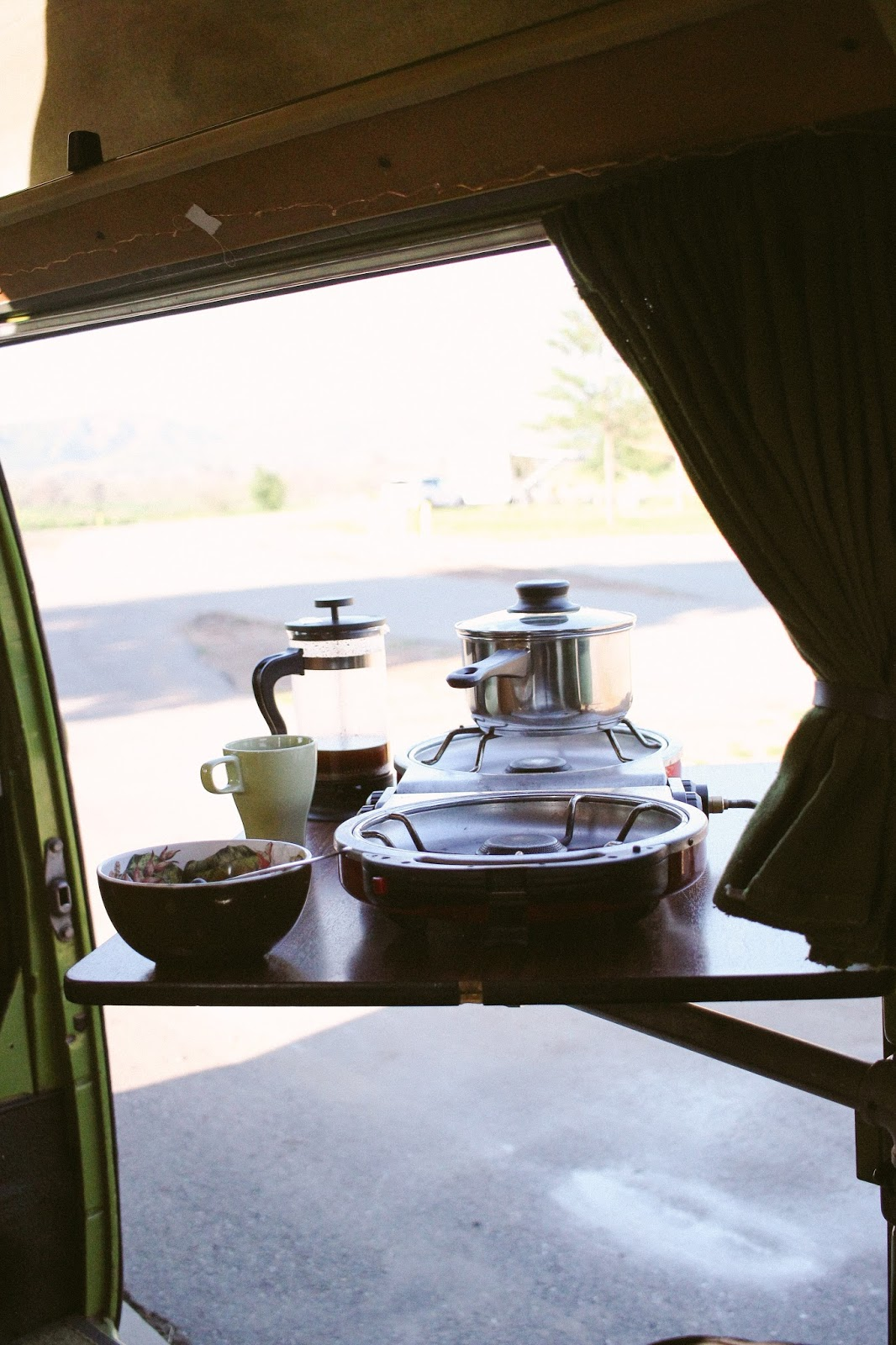 cooking in a VW van