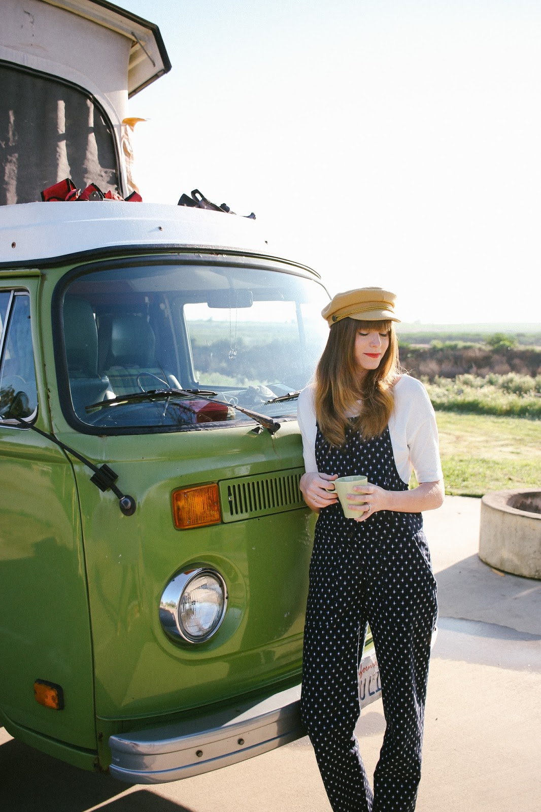 polka dot overalls, bridge & burn, vw westfalia van