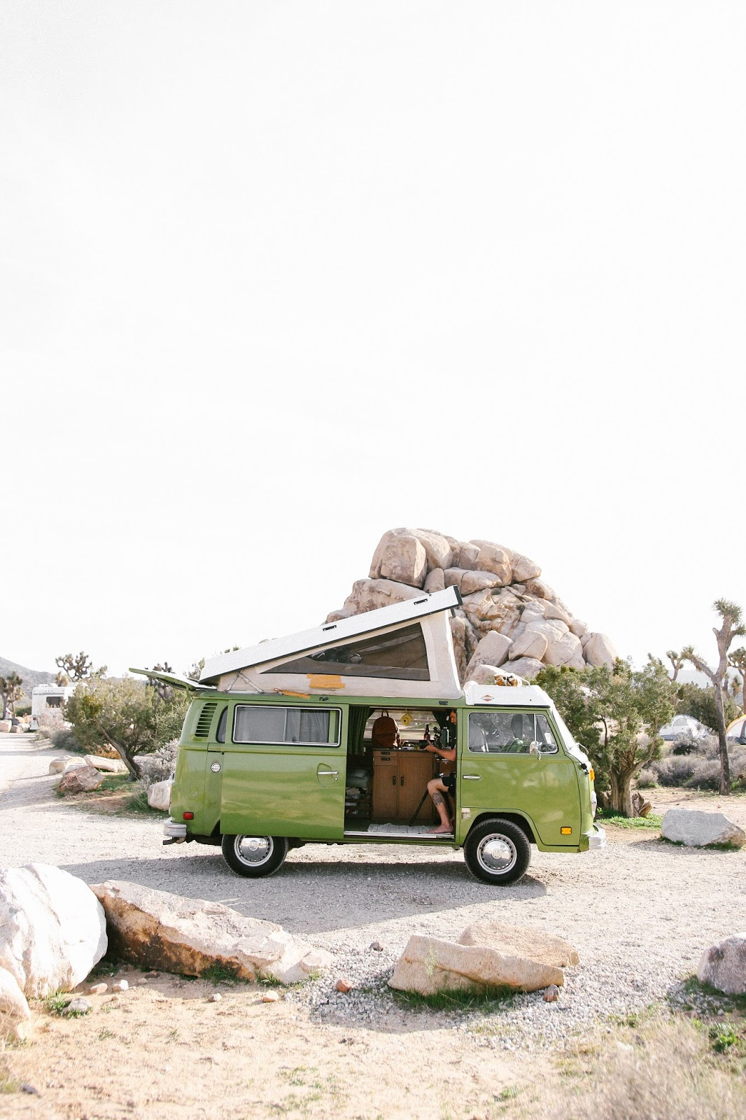 VW westfalia van at joshua tree, VW at joshua tree, Renting a VW Westfalia Van