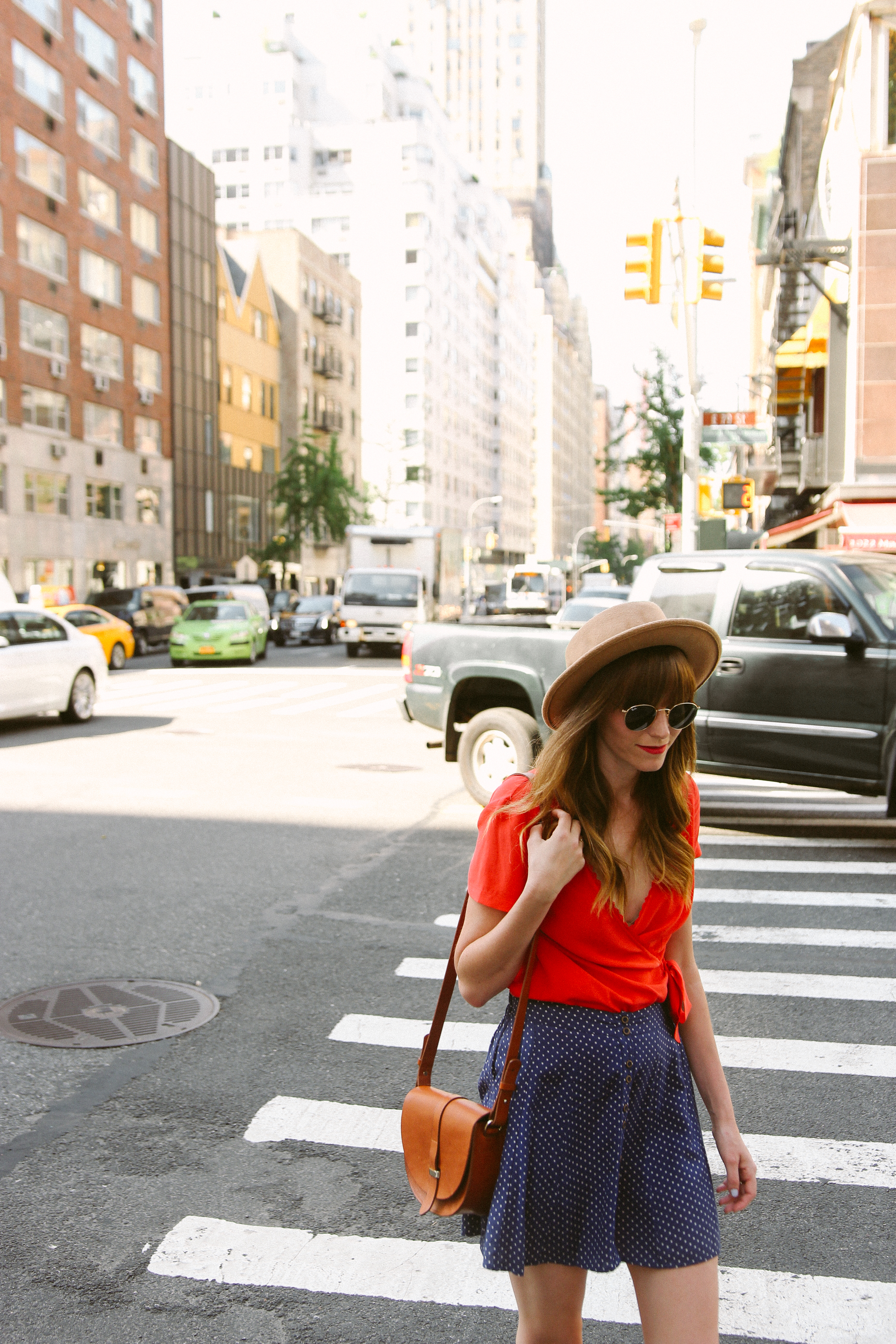 urban outfitters polka dot skirt, sezane olympia blouse, peter nappi mules, nyc polka dots styled