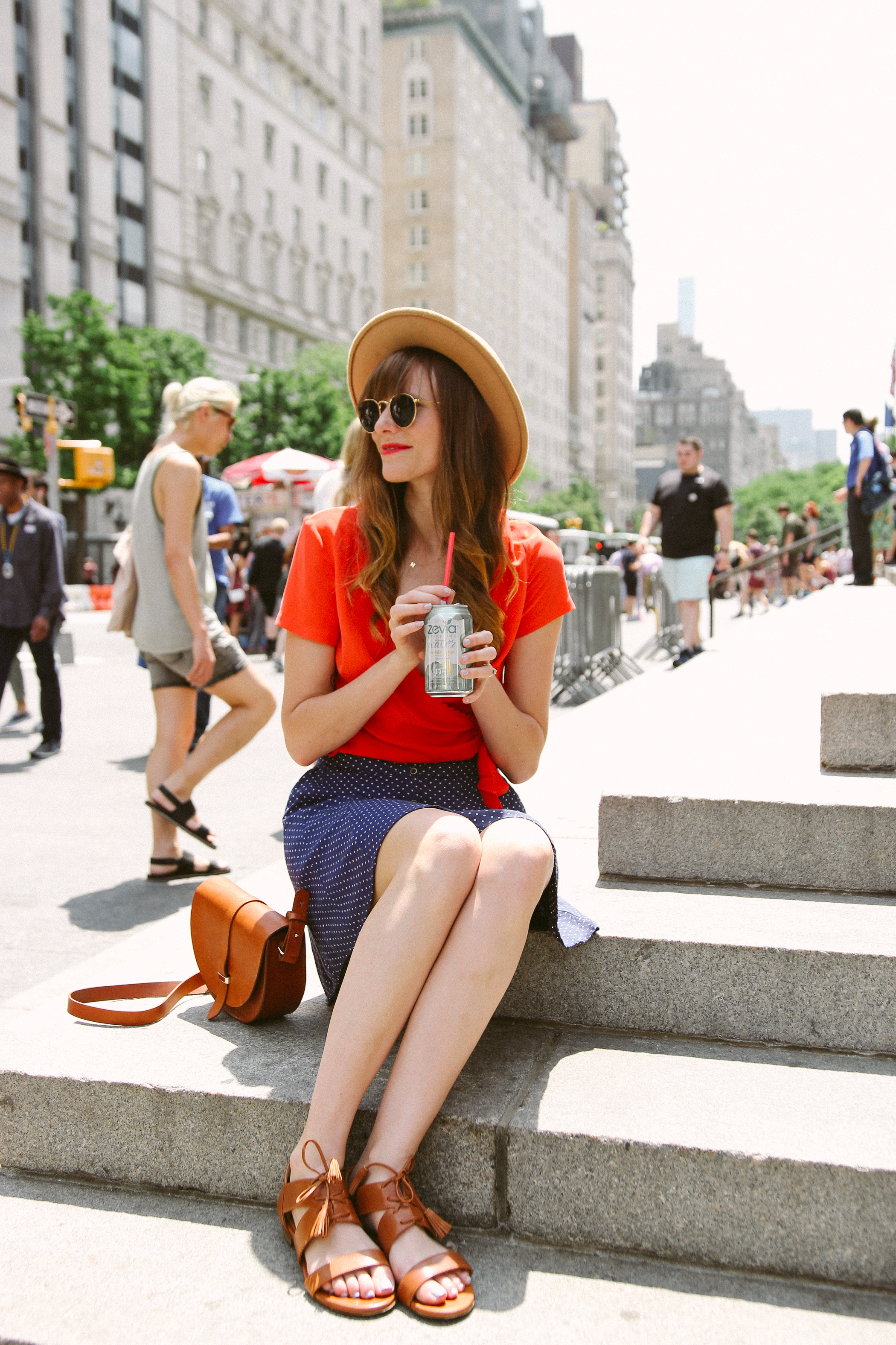 urban outfitters polka dot skirt, sezane olympia blouse, peter nappi mules, nyc polka dots styled, met steps outfit, Styling Polka Dots