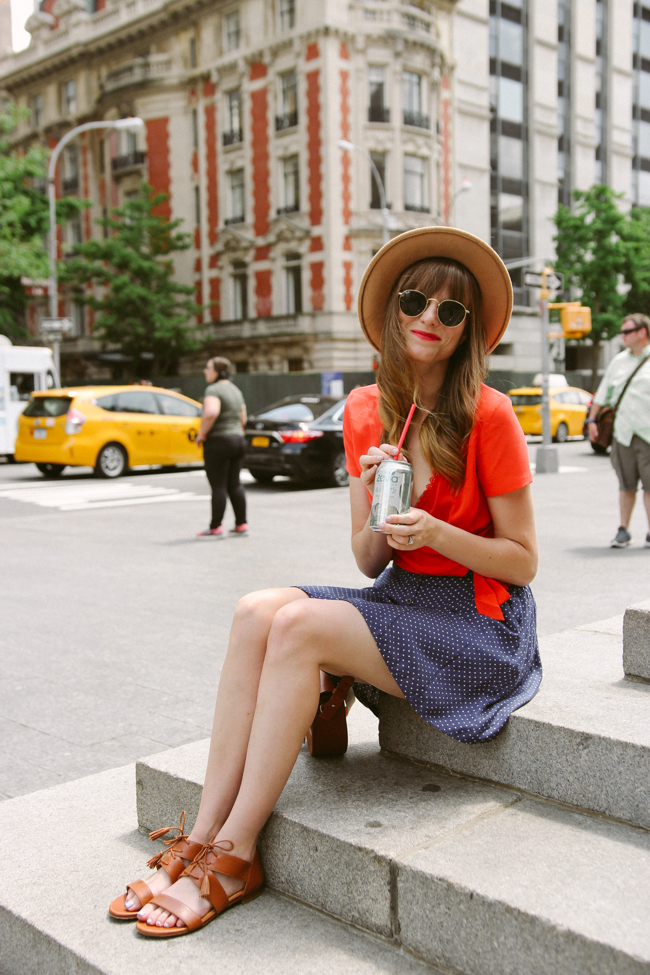 urban outfitters polka dot skirt, sezane olympia blouse, peter nappi mules, nyc polka dots styled, Styling Polka Dots