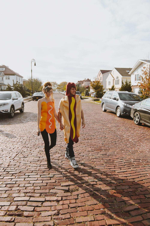 hot dog costume, couples hot dog costume, uber